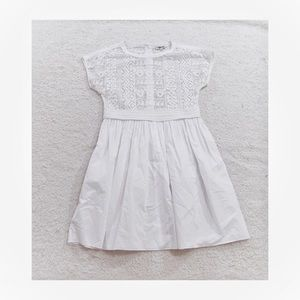 Madewell white fit and Flare lace top dress
